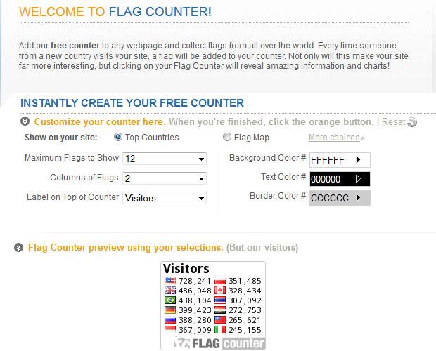 Generování vlastního kódu na FlagCounter.com