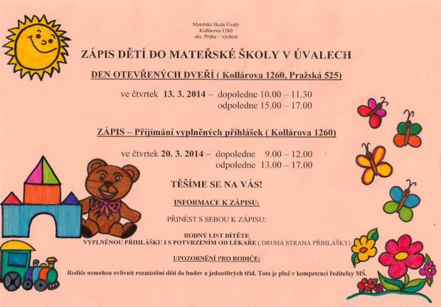 Zápis dětí do mateřské školy v Úvalech (2014)